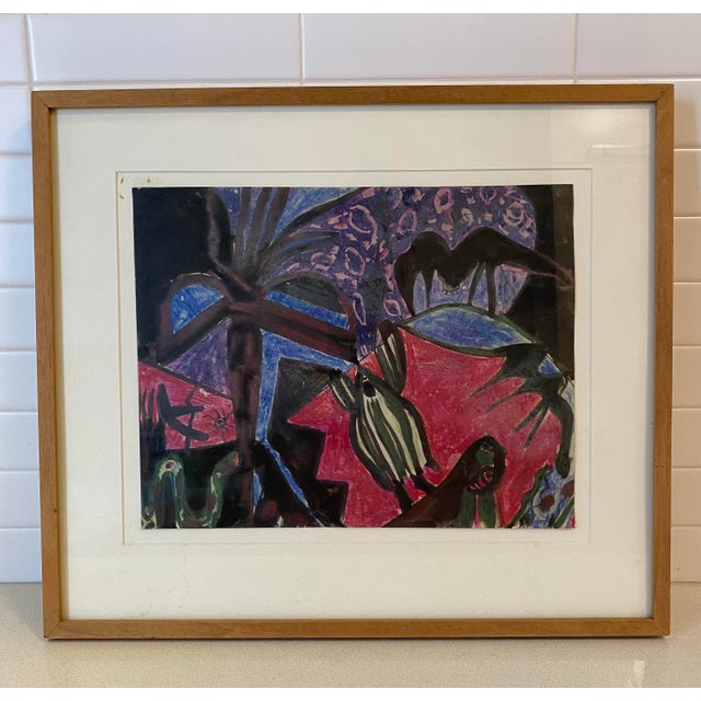 Paper Mid-Century Surrealist Gouache Painting on Paper, Framed For Sale - Image 7 of 7