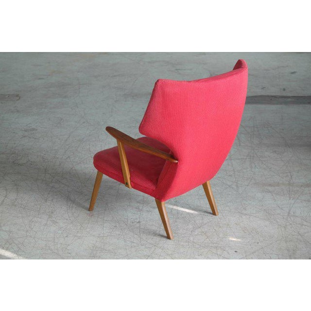Danish 1950's Madsen and Schubell High Back Lounge Chair in Teak and Oak For Sale - Image 9 of 11