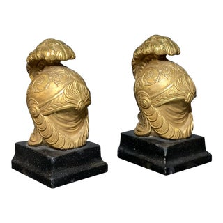 Neoclassical Style Roman Helmet Bookends - a Pair For Sale