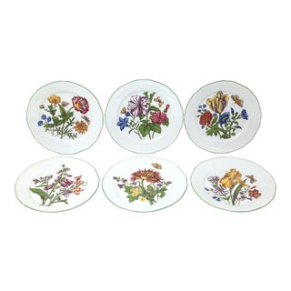 Vintage Bavarian China Floral Salad Plates by Bareuther - Set of 6 For Sale