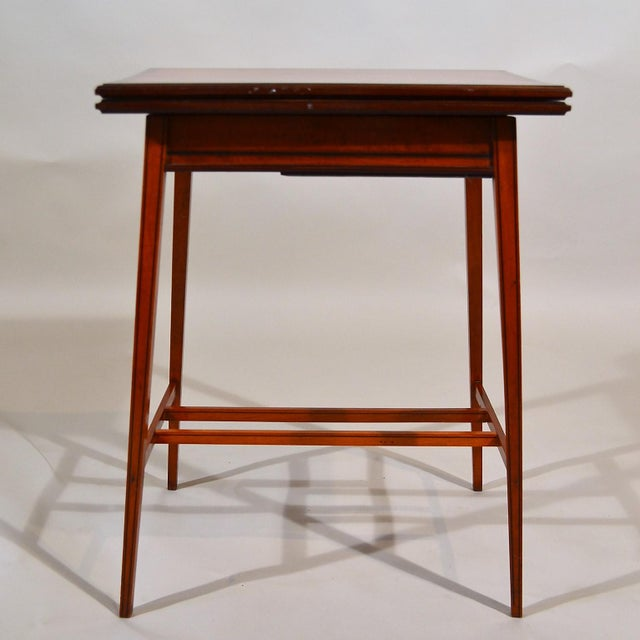 Antique English Edwardian Satinwood Foldover Table Circa 1890 For Sale - Image 4 of 4