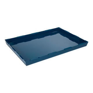 Veere Grenney Collection Large Denston Tray in Indigo Blue For Sale