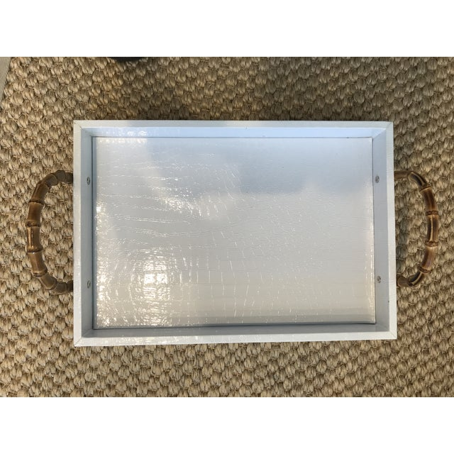 Small White Faux Leather Crocodile Texture Tray With Bamboo Handles For Sale In Des Moines, IA - Image 6 of 6