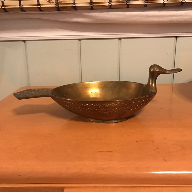 Beautiful Mid Century Brass Duck Bowl Great design and look. Solid brass, weighing over 4lbs. Some normal wear from age -...
