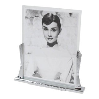 Large French Art Deco Modernist Chrome Picture Photo Frame For Sale