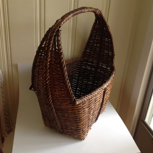 Country Rustic Woven Wicker Basket For Sale - Image 3 of 9
