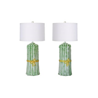 Italian Asparagus Table Lamps - a Pair For Sale