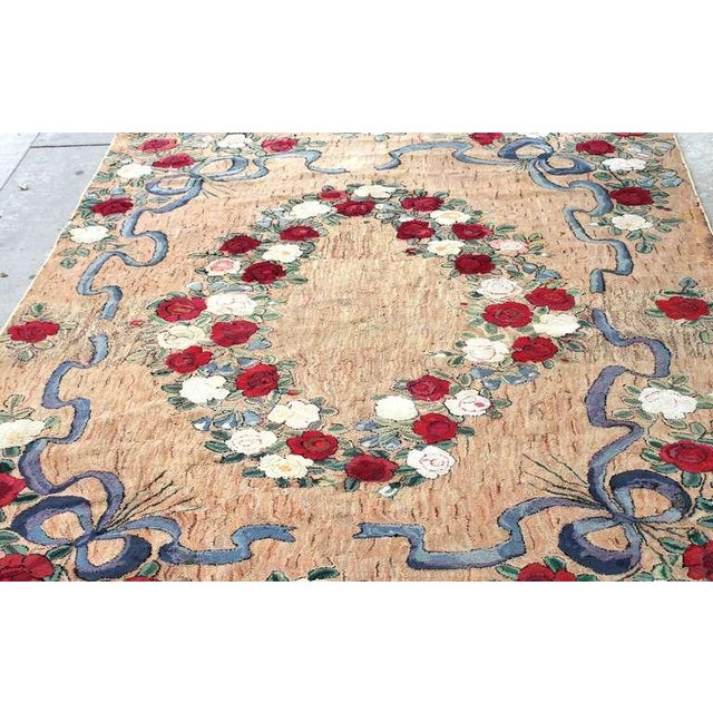 Textile Large Room Sized Rose and Ribbons Hand Hooked Rug For Sale - Image 7 of 7
