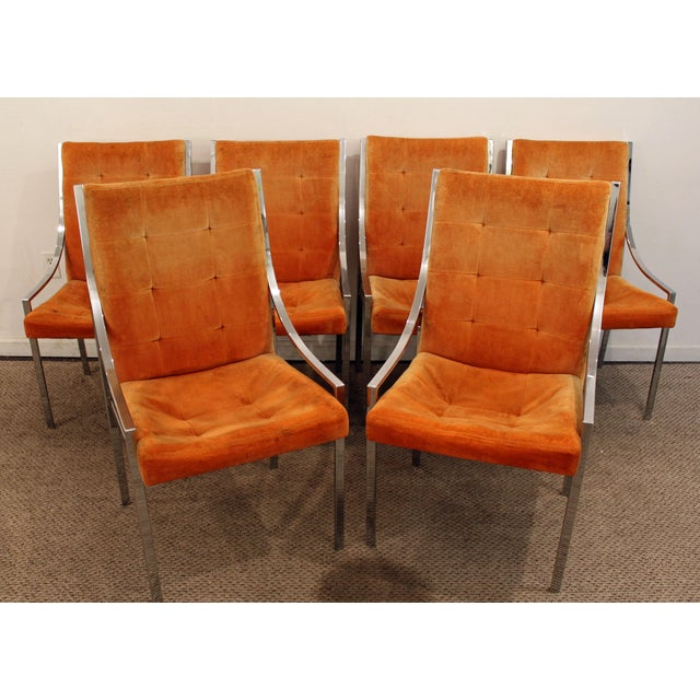 Set of 6 Mid-Century Danish Modern Milo Baughman Dillingham Chrome Dining Chairs What a find. Offered is a very cool...