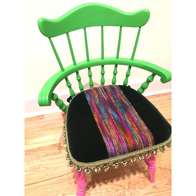 Vibrant Colorful Comb Back Chairs - A Pair - Image 6 of 7
