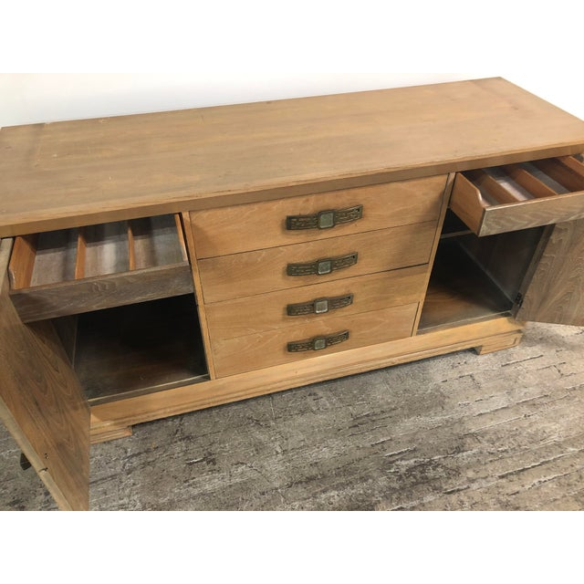 Grosfeld House Mid Century Asian Chinoiserie Solid Wood Credenza Buffet For Sale - Image 9 of 11