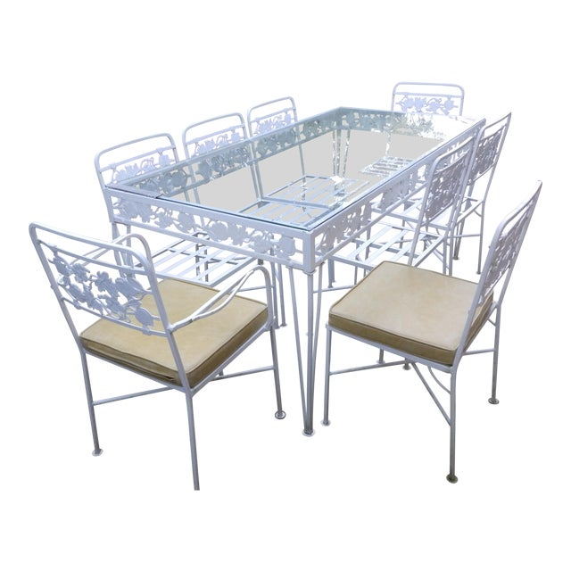 1950s Mid Century Modern Salterini Grapeleaf Wrought Iron Dining Set - 9 Pieces For Sale