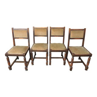 Set of 4 Antique Upholstered English Oak and Velvet Side Chairs - Late 19th Century For Sale