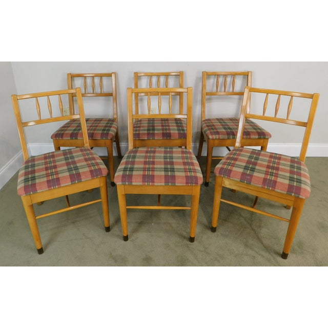High Quality American Made Vintage 1950's Set of 6 Blonde Wood Dining Chairs Designed by Milo Baughman for Drexel