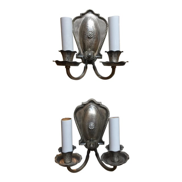 Hammered Aluminum Sconces - A Pair For Sale