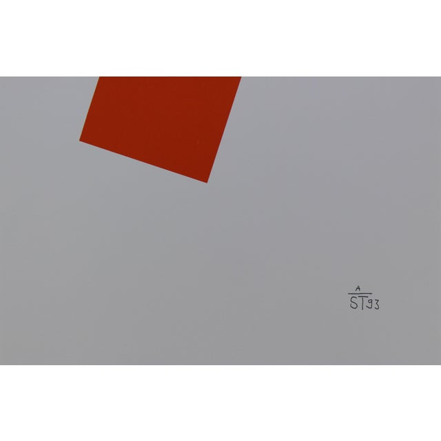 Abstract Anton Stankowski Classic Abstract Red Serigraph For Sale - Image 3 of 3