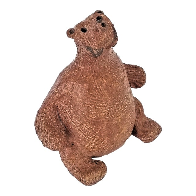 Vintage 1970s Danish Modern Studio Art Pottery Bear Sculpture- Signed For Sale