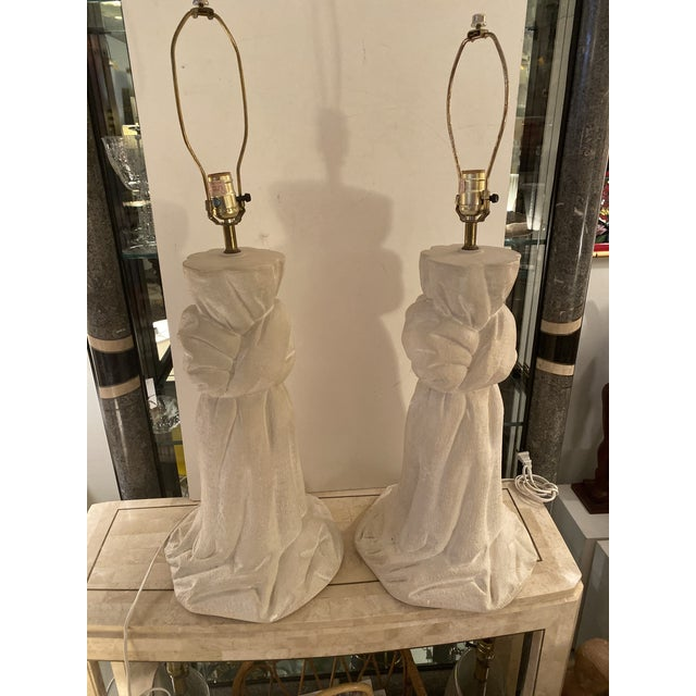 Monumental pair sculptural plaster lamps in a shape of a knot the on style of the designer John Dickinson.
