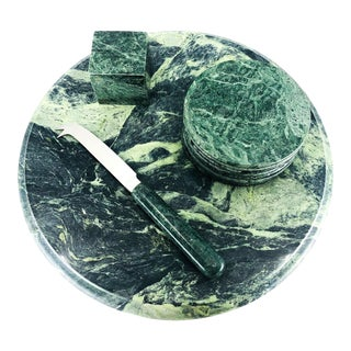 Green Marble Cheese Board Set For Sale