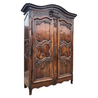 18th Century Louis XV French Provincial Carved Armoire or Wardrobe With Figural Crown France 1700s Preview
