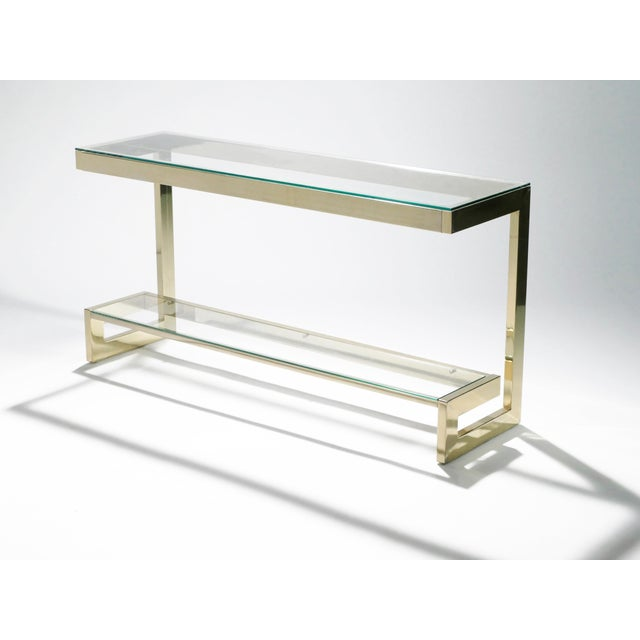 1970s Guy Lefevre Pair of Large Brass Console Tables for Maison Jansen, 1970s For Sale - Image 5 of 11
