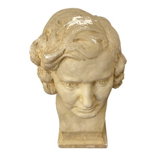 1980s Mid-Century Clay Bust For Sale