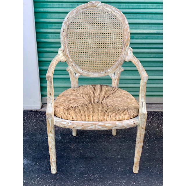 1960's Vintage Louis XVI Faux Bois Branch Form Cane Back Rush Seat Dining Chairs -Set of 6 For Sale - Image 10 of 13