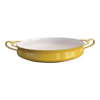 Vintage Dansk Kobenstyle Yellow Sungold Enamel Paella Pan For Sale