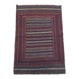 2010s Tribal Nomadic Maliki Handwoven Purple and Brick Red Wool Kilim Rug