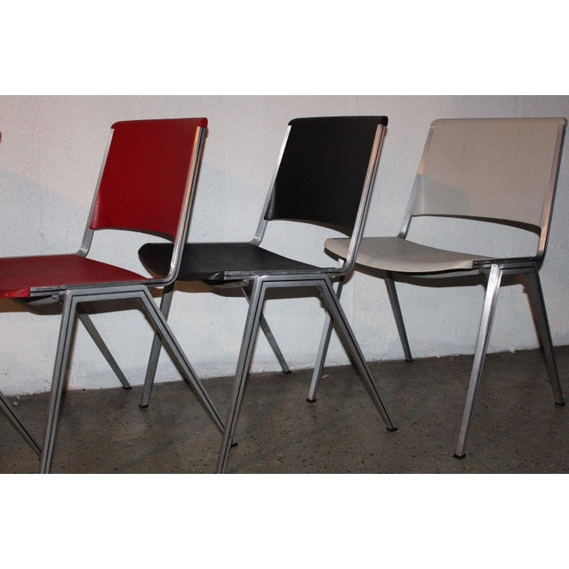 Chrome 1960s Mid Century Modern Steelcase Stackable Plastic Backed Chairs - Set of 4 For Sale - Image 7 of 11