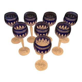 Waterford, Hand-Cut Crystal Goblets, Blue Cased, Set of 8 For Sale