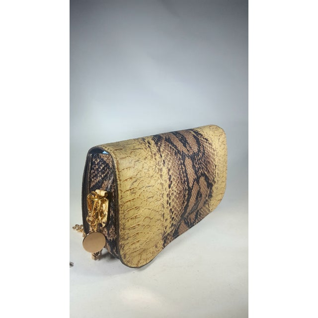 American Handcrafted Artisan Made Snakeskin Embossed Lambskin Leather Convertible Clutch/ Crossbody For Sale - Image 3 of 7