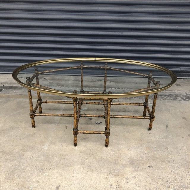 Vintage Faux Bamboo Brass Tray Top Coffee Table For Sale - Image 13 of 13