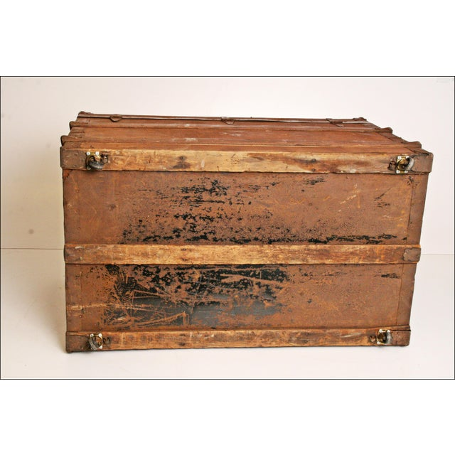 Vintage Brown Wood Steamer Trunk - Image 11 of 11