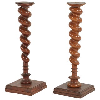 Late 19th Century French Wooden Turned Stands - a Pair For Sale