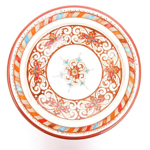 Moroccan Handpainted Brown Ceramic Plate - Image 3 of 4