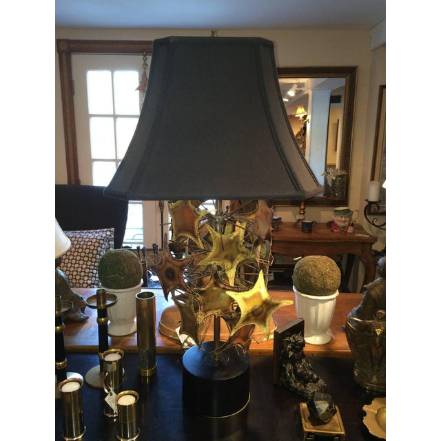 Brutalist Mid-Century lamp in the style of Curtis Jere. Torch cut shapes of stars and branches or starfish and sea urchin-...