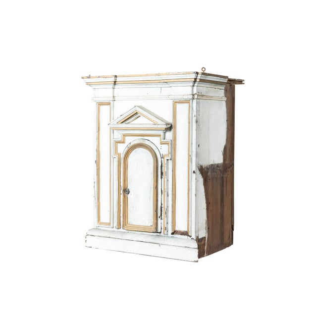 Wood Antique French White Painted Wood Tabernacle For Sale - Image 7 of 7