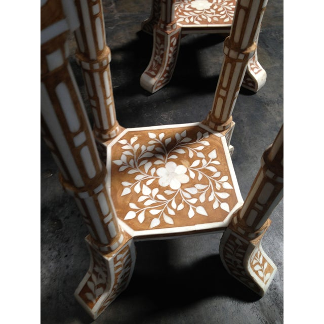 Pair of Bone Inlay Side Tables For Sale - Image 5 of 8