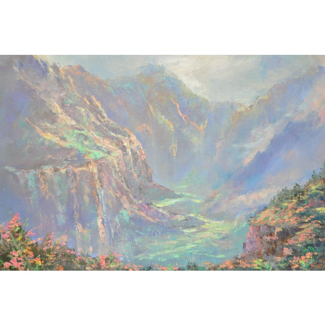 Impressionism Ed Furuike Oil Painting - Waimea Canyon, Kauai - Hawaii For Sale - Image 3 of 6