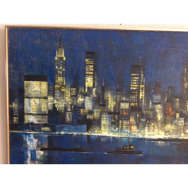 A framed, Midcentury Modern oil on canvas by listed artist Dean Ellis, 1920-2009. Depicts the midtown Manhattan skyline...