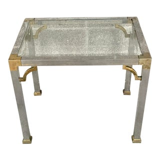 Vintage 1970's Hollywood Regency Metal Fretwork and Glass Top Side Table For Sale