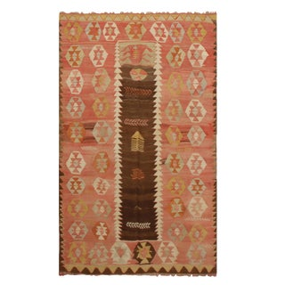 "1930's Vintage Konya Salmon Wool Kilim Rug-3'11'x6'8"" For Sale"
