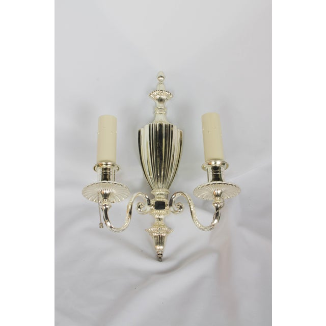 Two Arm Silver Plate Urn Sconces - a Pair