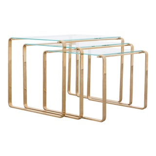 1970s Mid-Century Brass and Glass Nesting Coffee Tables - Set of 3 For Sale
