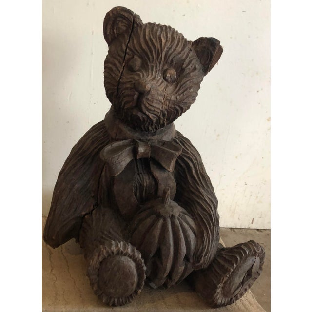 Wooden Carved Teddy Bear For Sale In Atlanta - Image 6 of 6