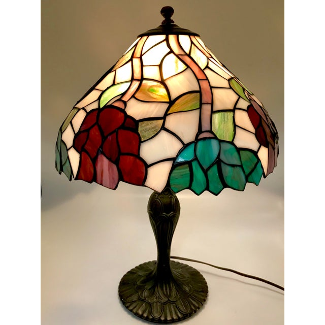 Vintage Tiffany Style Stained Glass Table Lamp For Sale - Image 4 of 10