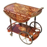 Image of 1950s French Marquetry Drop Leaf Bar Cart For Sale