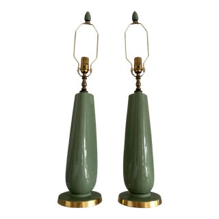 1960s Pale Green Lenox Porcelain Lamps - a Pair For Sale