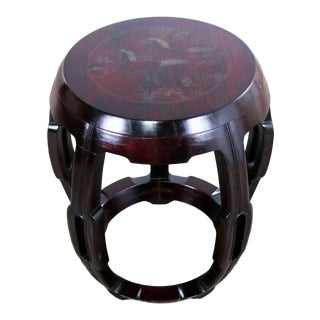 Vintage Asian Rosewood Garden Stool or Barrel Drum Table With Brass Inlaid Design For Sale